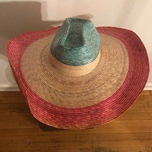 "Unique Beautiful XLarge Straw Hat 20.5"" Wide"